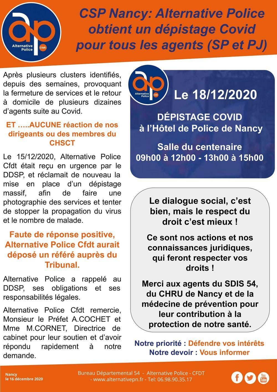 CSP Nancy: Alternative Police obtient un dépistage Covid pour tous les agents (SP et PJ)