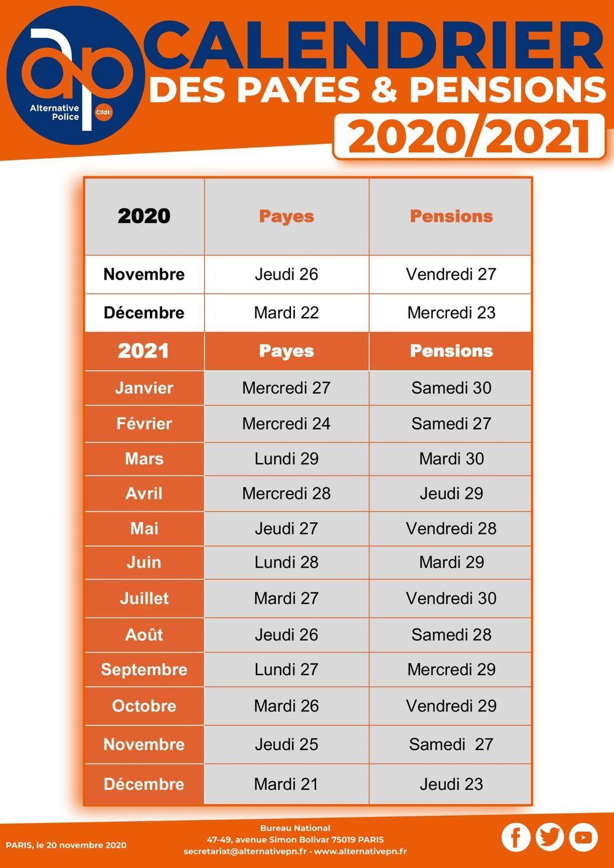 Calendrier prévisionnel de mise en paiement des traitements et des pensions 2021