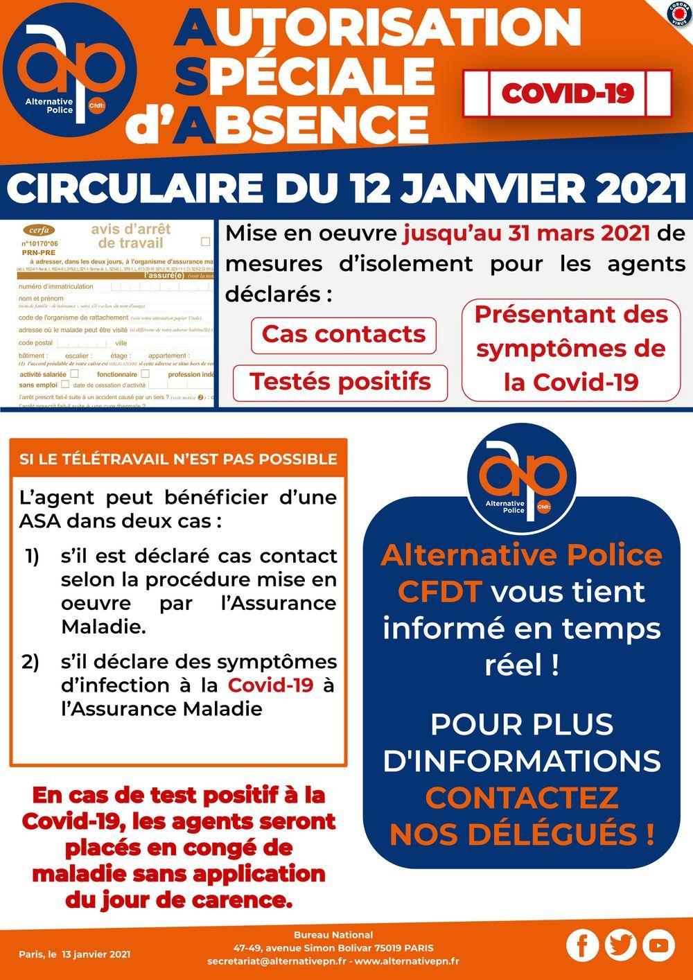 Autorisation Spéciale d'Absence : circulaire du 12 janvier 2021