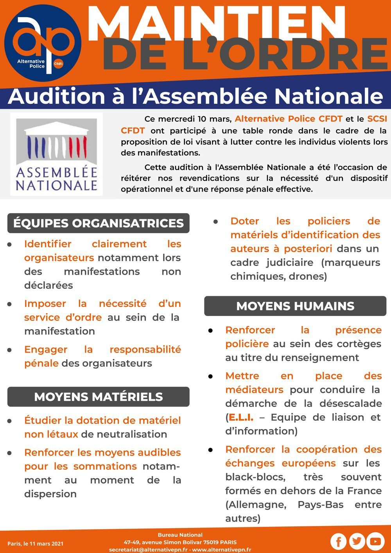 Maintien de l'Ordre : audition à l'Assemblée Nationale