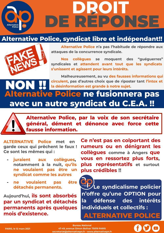 Droit de réponse : Alternative Police, libre et indépendant !!