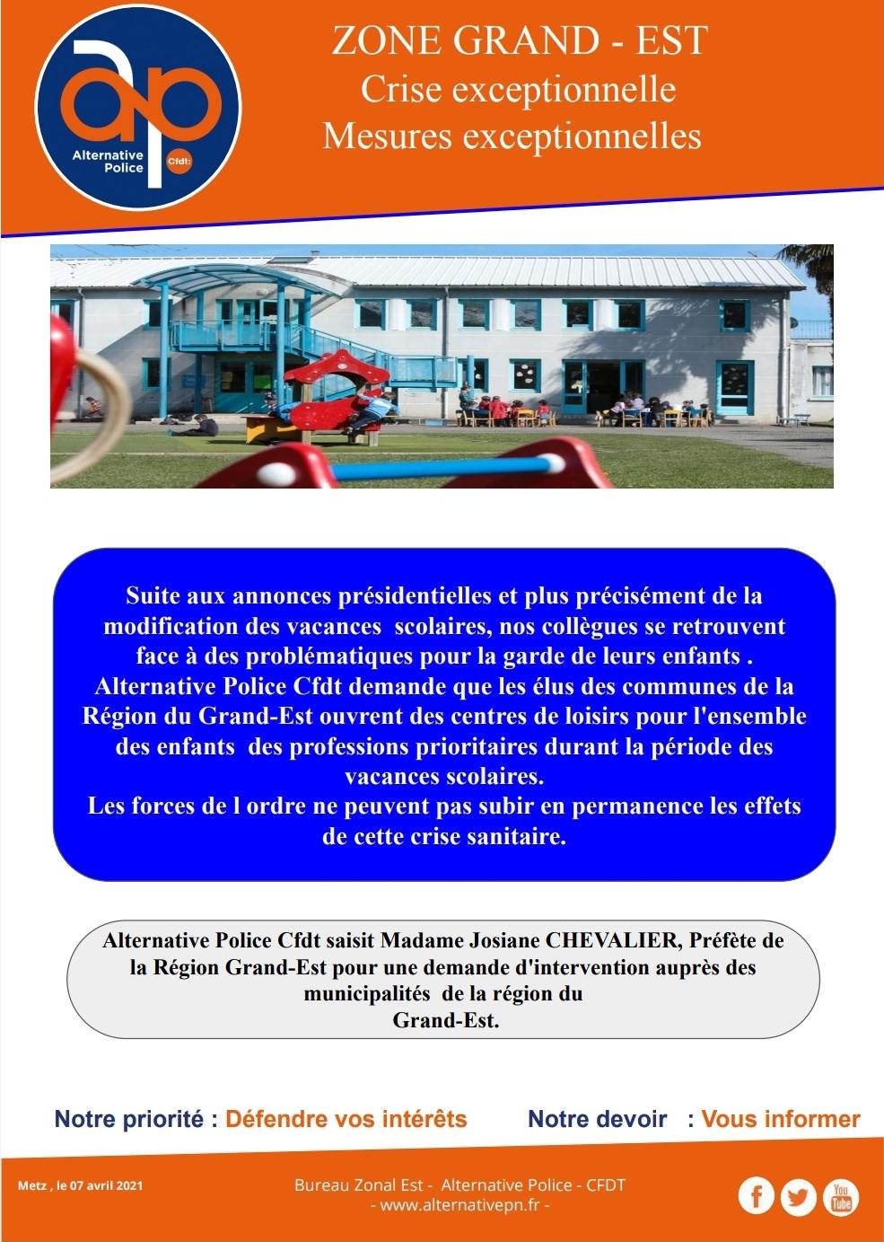 Centres de loisirs: demande d'ouverture pour les enfants des FDO