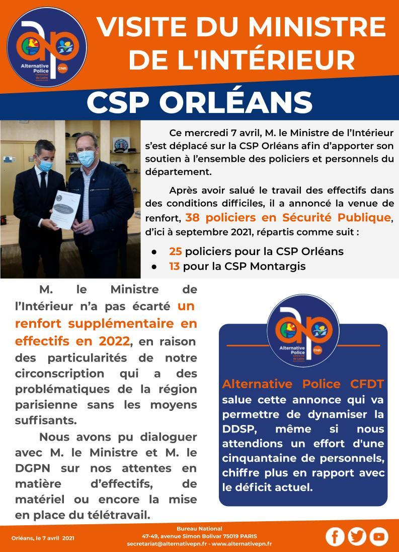 CSP Orléans : Visite du Ministre de l'Intérieur