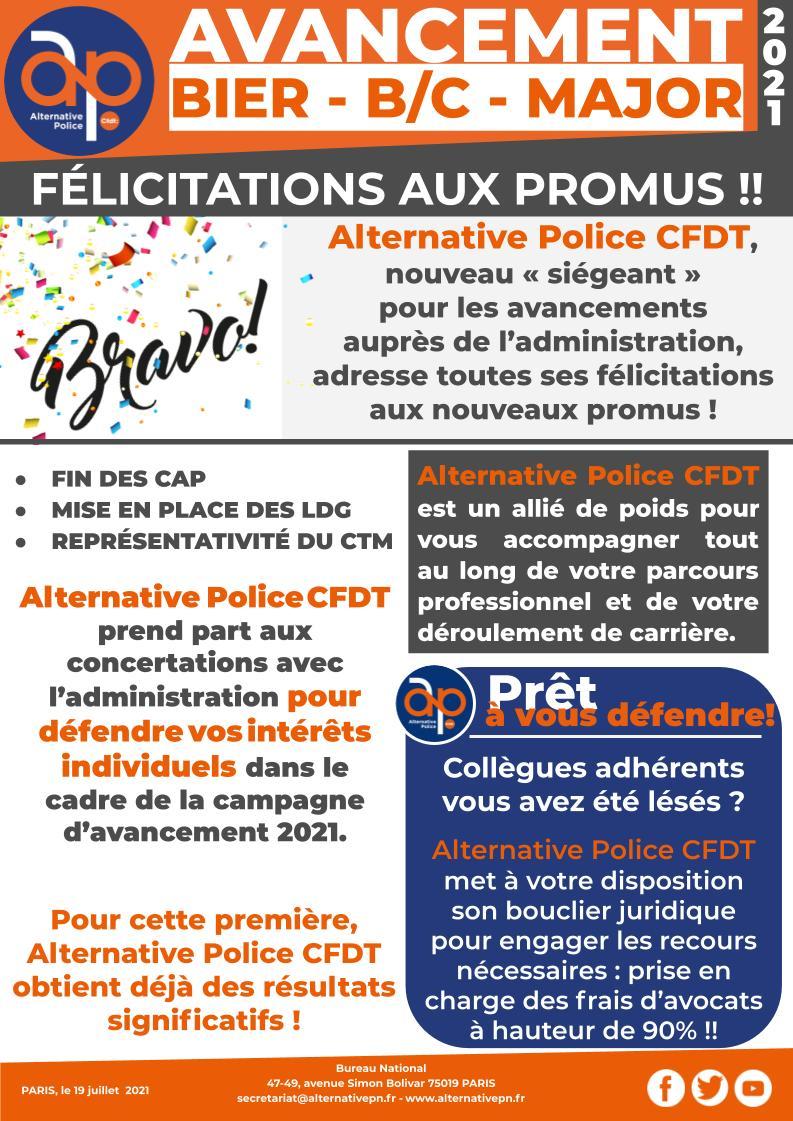Avancements BIER, B/C Major : Félicitations aux promus !!