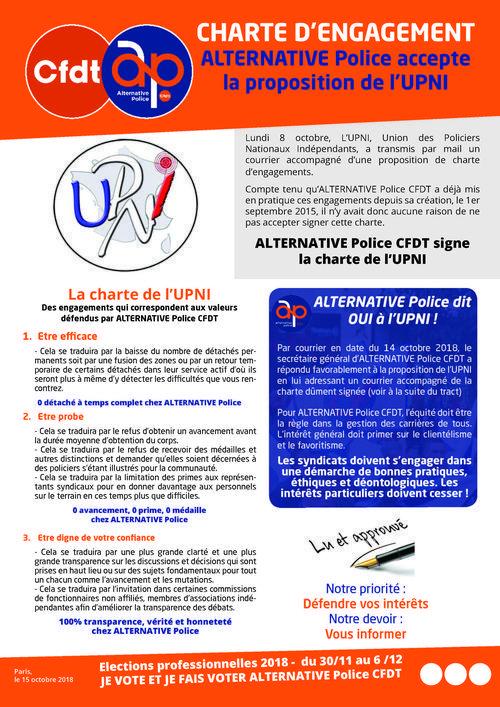 Charte d'engagements de l'UPNI