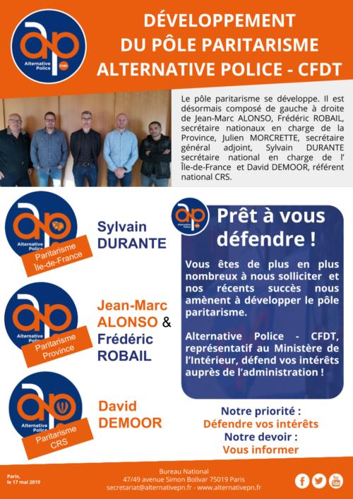 DÉVELOPPEMENT  DU PÔLE PARITARISME ALTERNATIVE POLICE - CFDT