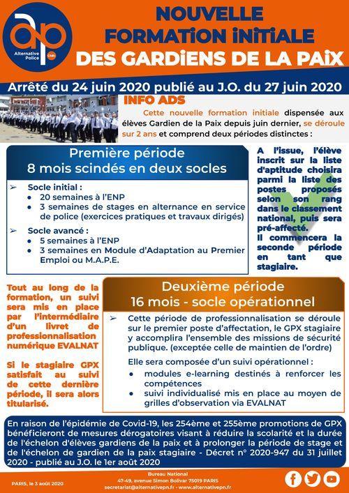 Nouvelle formation initiale des Gardiens de la Paix - Arrêté du 24 juin 2020 publié au J.O. du 27 juin 2020